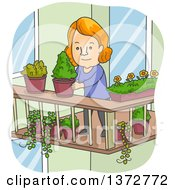 Clipart Of A Cartoon Red Haired White Woman Organizing Potted Plants On Her Balcony Royalty Free Vector Illustration