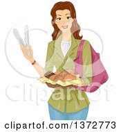 Clipart Of A Brunette White Woman Holding Tongs And A Basket Of Bread Royalty Free Vector Illustration by BNP Design Studio
