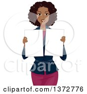 Clipart Of A Happy Black Woman Holding Blank Boards Royalty Free Vector Illustration