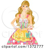Clipart Of A Blond White Woman In A Candy Costume Royalty Free Vector Illustration