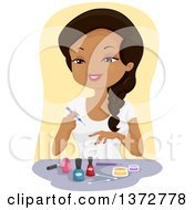 Clipart Of A Happy Black Woman Painting Her Finger Nails Royalty Free Vector Illustration