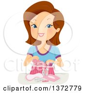 Clipart Of A Brunette White Teen Girl With A Bag Of Beauty Accessories Royalty Free Vector Illustration