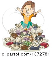 Clipart Of A Cartoon Brunette White Woman Sitting On A Pile Of Books And Cheering Royalty Free Vector Illustration
