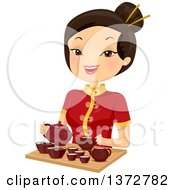 Clipart Of A Happy Asian Woman Preparing Hot Tea Royalty Free Vector Illustration