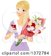 Clipart Of A Blond White Woman Reading A Tag And Receiving Flowers Royalty Free Vector Illustration