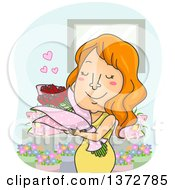 Red Haired White Woman Hugging A Bouquet Of Flowers
