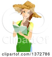 Clipart Of A Happy Brunette White Woman Wearing A Straw Hat And Reading A Gardening Book Royalty Free Vector Illustration