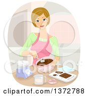 Clipart Of A Blond White Woman Making Chocolates Royalty Free Vector Illustration by BNP Design Studio