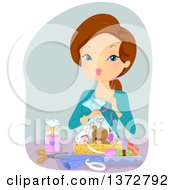 Clipart Of A Brunette White Woman Making A Gift Basket Royalty Free Vector Illustration