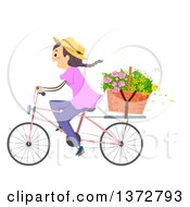 Clipart Of A Woman Riding A Bicycle With Flowers In A Basket Royalty Free Vector Illustration