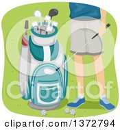 Clipart Of A Man Shown From The Hips Down Standing By A Golf Bag Royalty Free Vector Illustration by BNP Design Studio