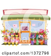 Flower Shop Store Facade With A Blank Sign