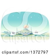 Clipart Of A Sketched Landscape With A Muslim Mosque Royalty Free Vector Illustration