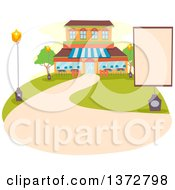 Clipart Of A Restaurant Exterior With A Blank Sign And Path Royalty Free Vector Illustration by BNP Design Studio
