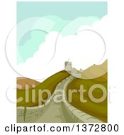 Clipart Of A Scene At The Great Wall Of China Royalty Free Vector Illustration