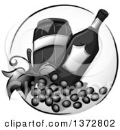 Clipart Of A Grayscale Barrel Bottle And Wine Grapes Royalty Free Vector Illustration