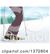 Clipart Of A Man Shown From The Legs Down Walking In The Snow Royalty Free Vector Illustration