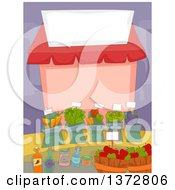 Clipart Of A Farmers Market Stand With A Blank Sign Royalty Free Vector Illustration by BNP Design Studio
