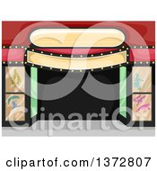 Clipart Of A Theater Entrance With A Sign Royalty Free Vector Illustration