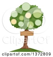 Clipart Of A Family Tree With Circle Frames And A Sign Royalty Free Vector Illustration