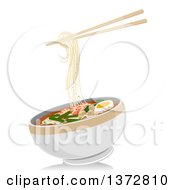 Clipart Of A Pair Of Chopsticks And A Bowl Of Laksa Noodles Royalty Free Vector Illustration