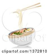 Pair Of Chopsticks And A Bowl Of Laksa Noodles