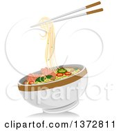 Clipart Of A Pair Of Chopsticks And A Bowl Of Pho Noodles Royalty Free Vector Illustration by BNP Design Studio