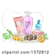 Clipart Of Sketched Organic Beauty Products Royalty Free Vector Illustration by BNP Design Studio
