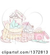 Clipart Of A Group Of Sketched Fancy Gift Boxes Royalty Free Vector Illustration