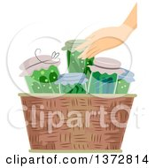 Clipart Of A Caucasian Hand Putting Canned Vegetables In A Basket Royalty Free Vector Illustration by BNP Design Studio