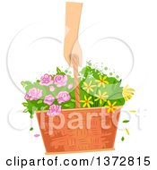Clipart Of A Caucasian Hand Carrying A Basket Of Flowers Royalty Free Vector Illustration by BNP Design Studio