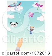 Clipart Of A Caucasian Hand Flying A Butterfly Kite With Others In The Sky Royalty Free Vector Illustration