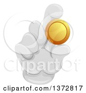 Gloved Hand Holding A Gold Coin