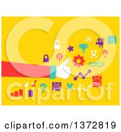 Clipart Of A Hand Giving A Thumb Up Around Icons On Yellow Royalty Free Vector Illustration by BNP Design Studio