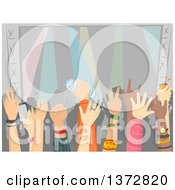 Clipart Of A Crowded Audience At A Concert Royalty Free Vector Illustration