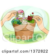 Clipart Of A Womans Hands Creating A Scene In A Garden Pot Royalty Free Vector Illustration