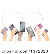 Clipart Of A Group Of Hands Holding Up Cell Phones With Text Space Royalty Free Vector Illustration