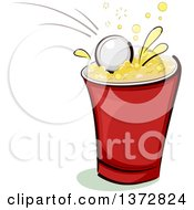 Clipart Of A Ping Pong Ball Splashing Into A Beer Cup Royalty Free Vector Illustration by BNP Design Studio