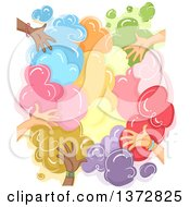 Clipart Of A Colorful Cloud Of Powder With Hands Royalty Free Vector Illustration