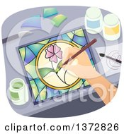 Clipart Of A Hand Making Floral Stained Glass Royalty Free Vector Illustration by BNP Design Studio