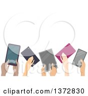 Clipart Of A Group Of Hands Holding Up Computer Tablets With Text Space Royalty Free Vector Illustration