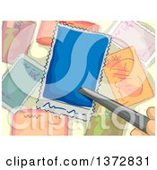 Clipart Of Tweezers Picking Up A Stamp Royalty Free Vector Illustration by BNP Design Studio
