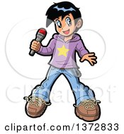 Clipart Of A Manga Boy Pop Star Singer Holding A Microphone Royalty Free Vector Illustration