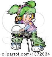 Green Haired White Manga Girl DJ Mixing Records