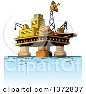 Clipart Of An Oil Rig Platform In The Ocean Royalty Free Vector Illustration