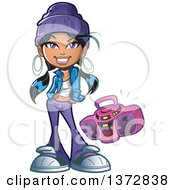 Clipart Of A Hip Young Woman With A Boom Box Radio Royalty Free Vector Illustration