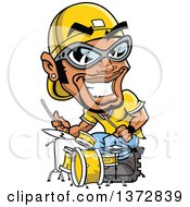 Clipart Of A Black Male Hip Hop Musician Drummer Royalty Free Vector Illustration by Clip Art Mascots