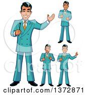 Clipart Of A Happy White Male Game Show Host In Different Poses Royalty Free Vector Illustration by Clip Art Mascots