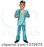 Clipart Of A Happy White Male Game Show Host Royalty Free Vector Illustration by Clip Art Mascots