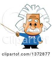 Clipart Of Albert Einstein Holding A Pointer Stick Royalty Free Vector Illustration by Clip Art Mascots #COLLC1372877-0189